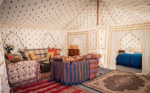 Pilton Manor Boutique Glamping for the Glastonbury Festival, Jaipur Living Space and Bed View