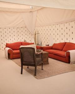 Pilton Manor Boutique Glamping for the Glastonbury Festival, Mughal Living Space